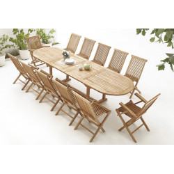 Table Ovale 10 chaises + 2 fauteuils  Brut Massif