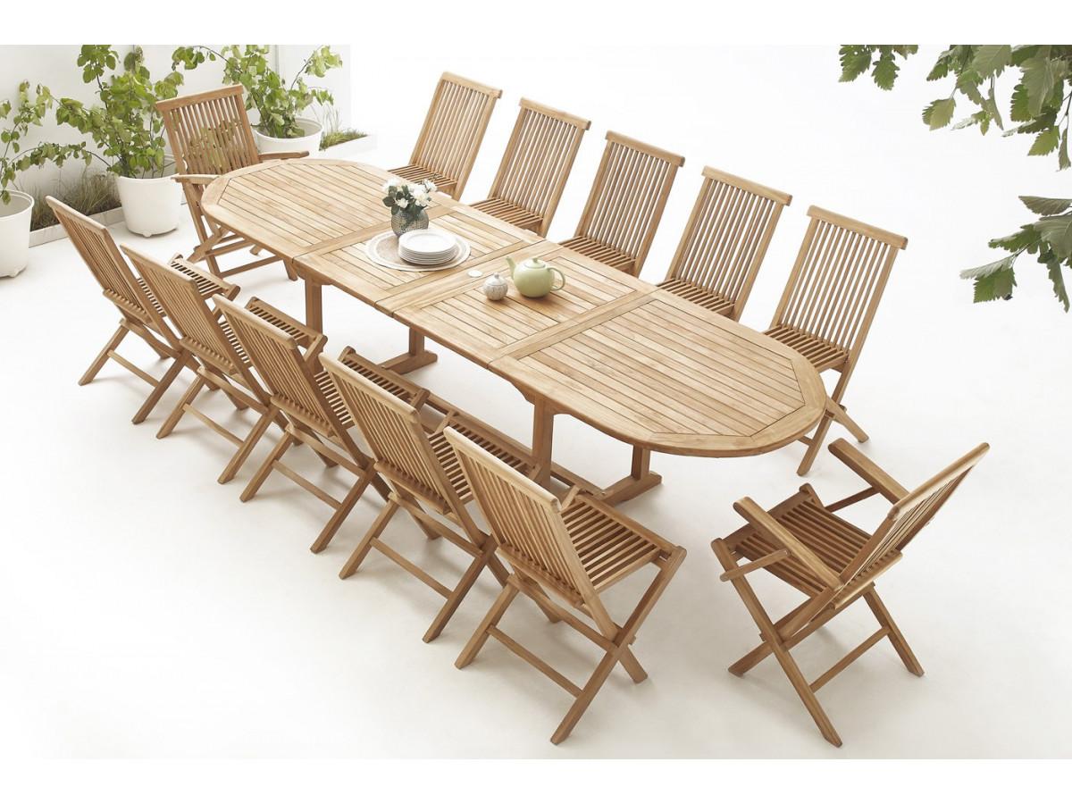 Table ovale 10 chaises 2 fauteuils teck brut massif for Table ovale et chaises