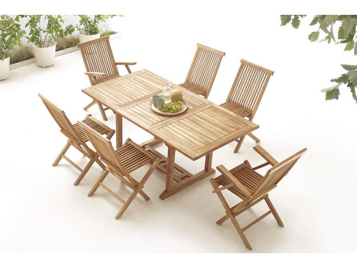 Table rectangle 4 chaises + 2 fauteuils Brut Massif
