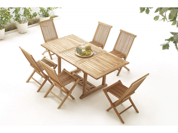 Table rectangle 6 chairs TEAK Plain Solid