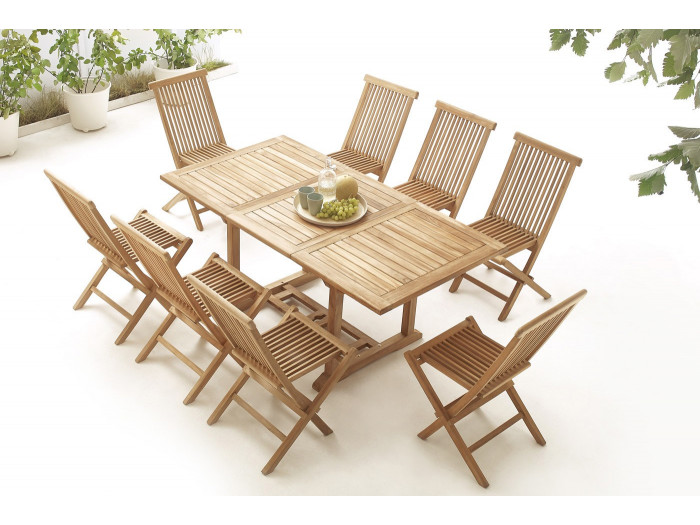 Table rectangle 8 chairs TEAK Plain Solid