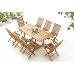 Table rectangle 6 chaises + 2 fauteuils  Brut Massif