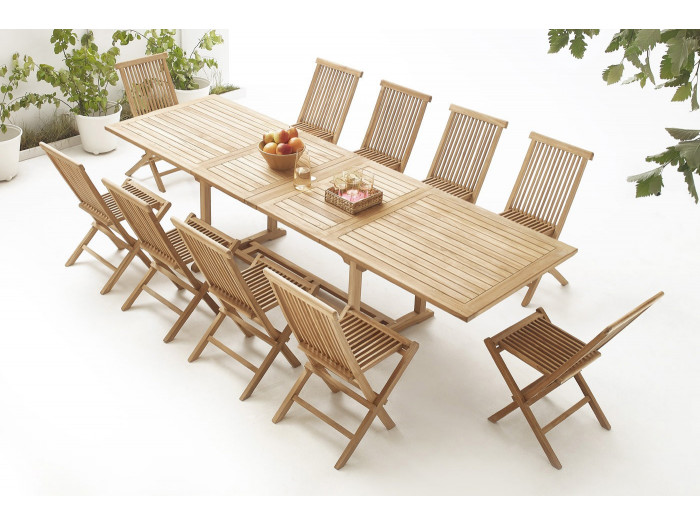 Table rectangle 10 chairs TEAK Plain Solid