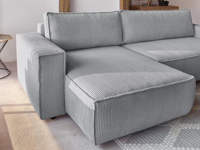 Canapé d'angle convertible réversible coffre NIHAD