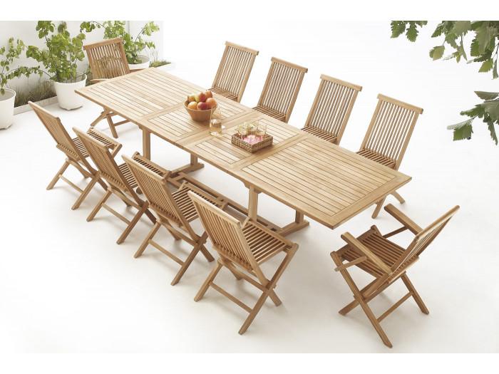 Table rectangle 8 chaises + 2 fauteuils Brut Massif