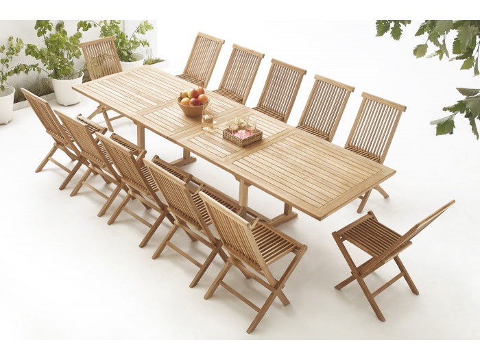 Table rectangle 12 chairs TEAK Plain Solid