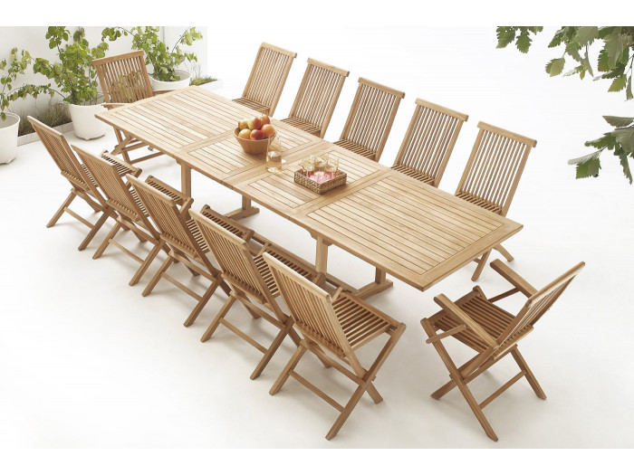 Table rectangle 10 chairs + 2 armchairs TEAK Plain Solid