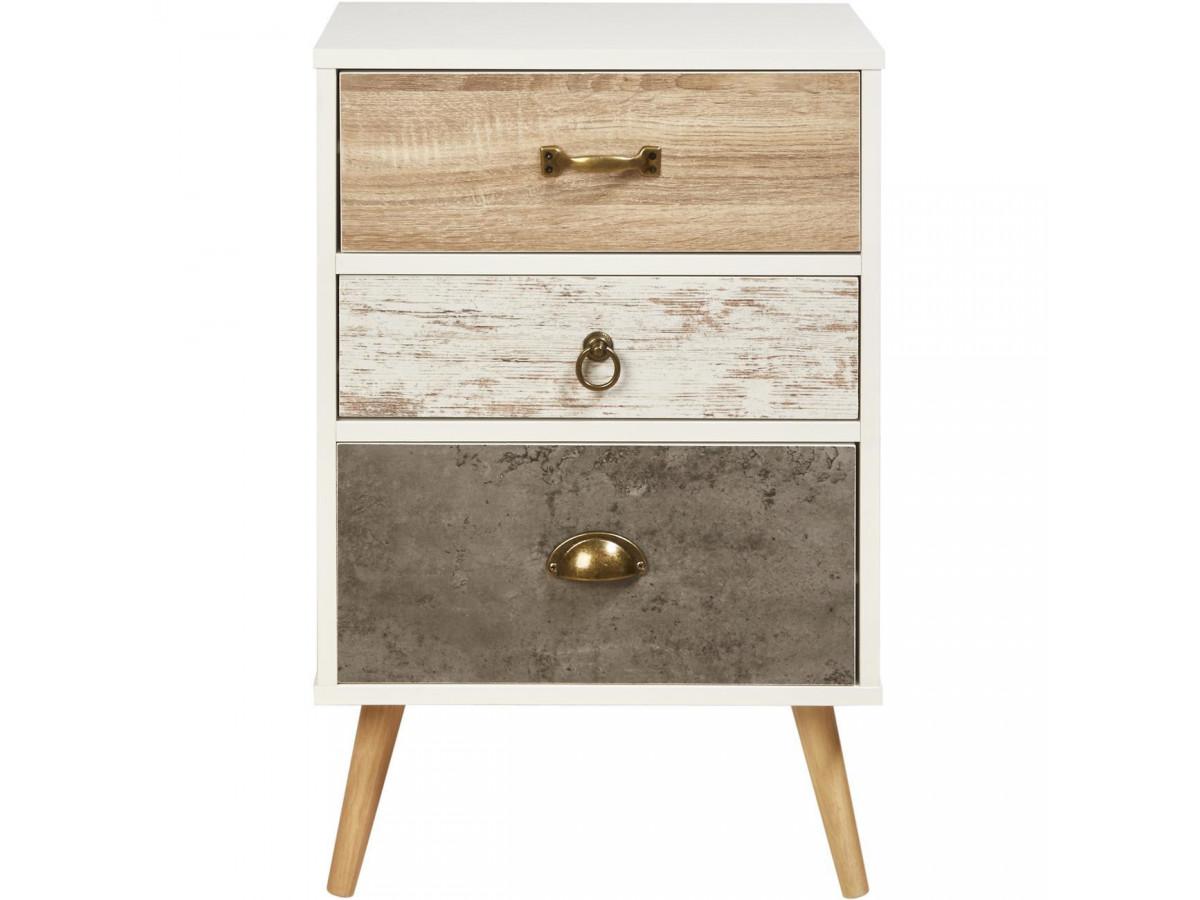 Chevet design en bois Vinden Blanc gris et beige