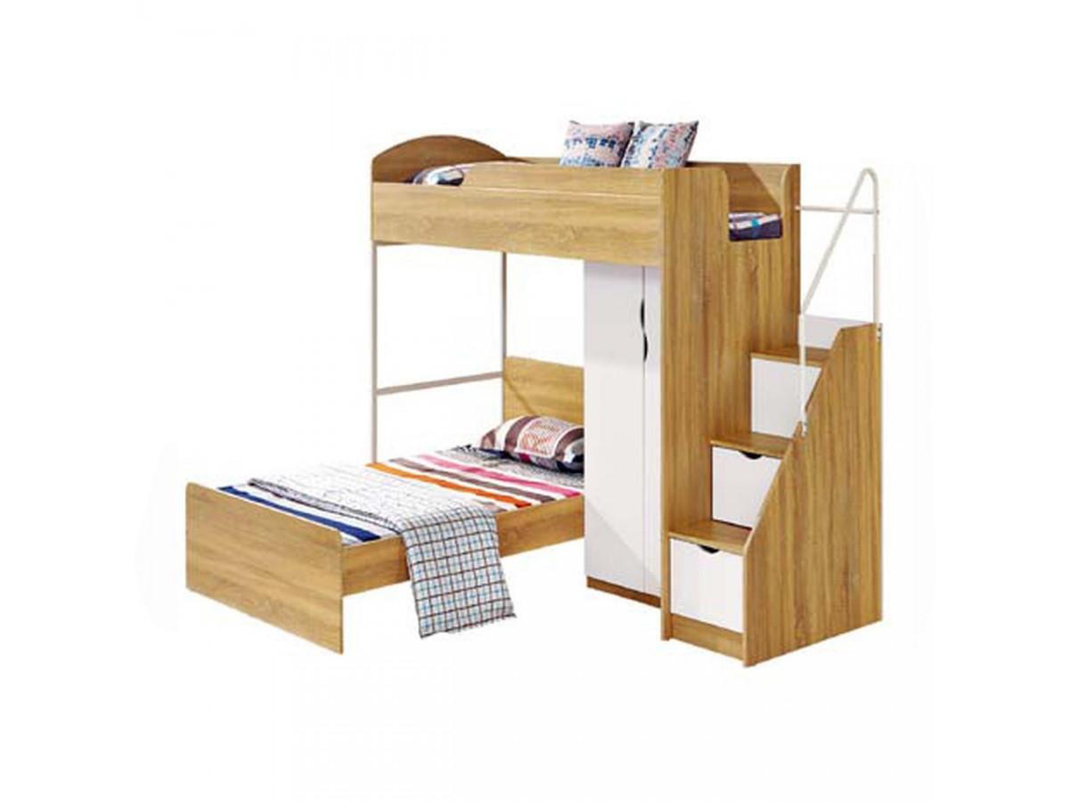 Lit multifonctions avec armoire + escalier Kaza Bois Naturel