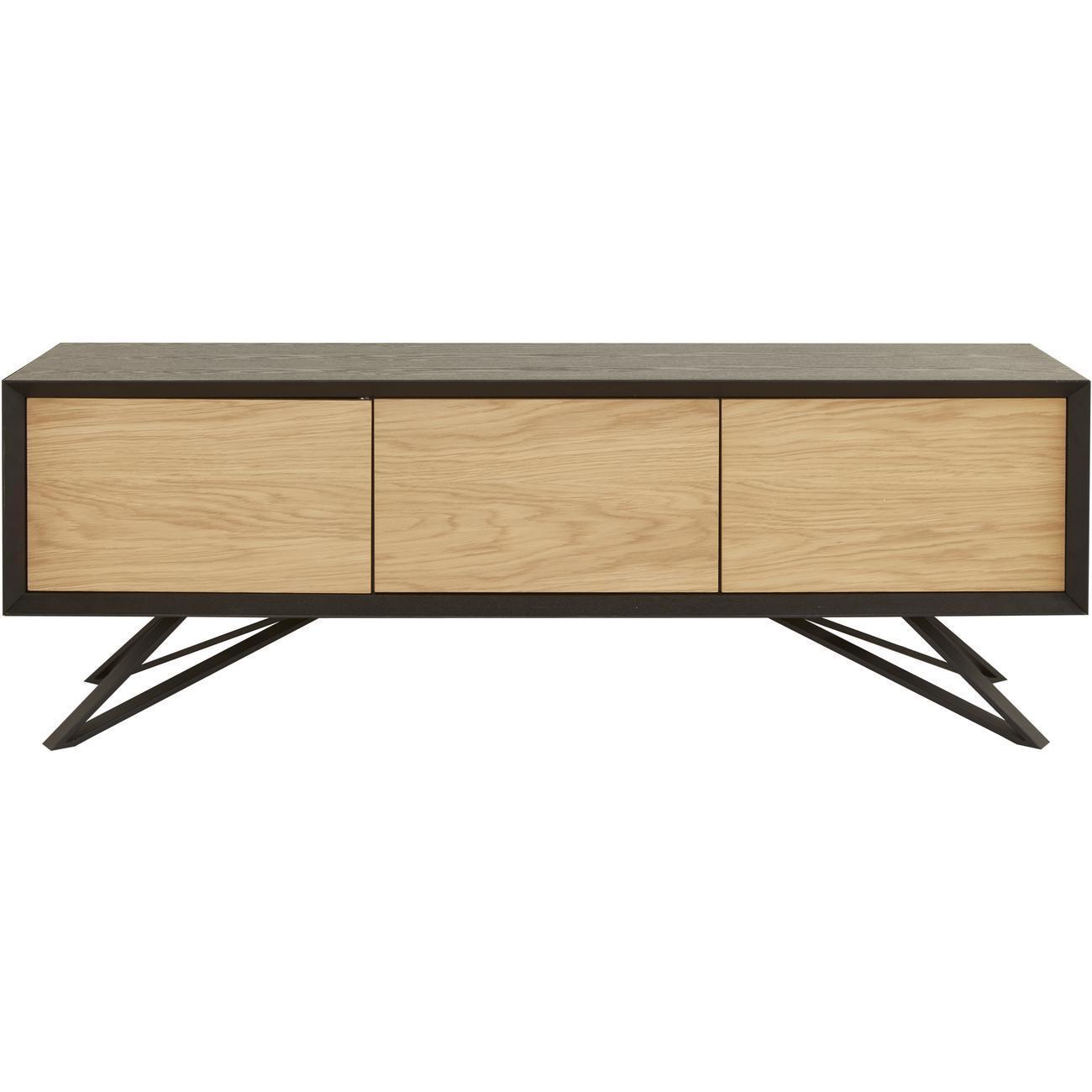 Quelle Hauteur Meuble Tv meuble tv 3 portes dane bois naturel & noir   bobochic ®