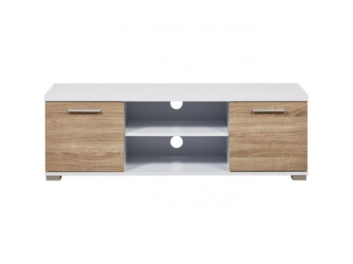 Table En Bois Chene Clair meuble tv tendance en bois mdf polly blanc et chene clair