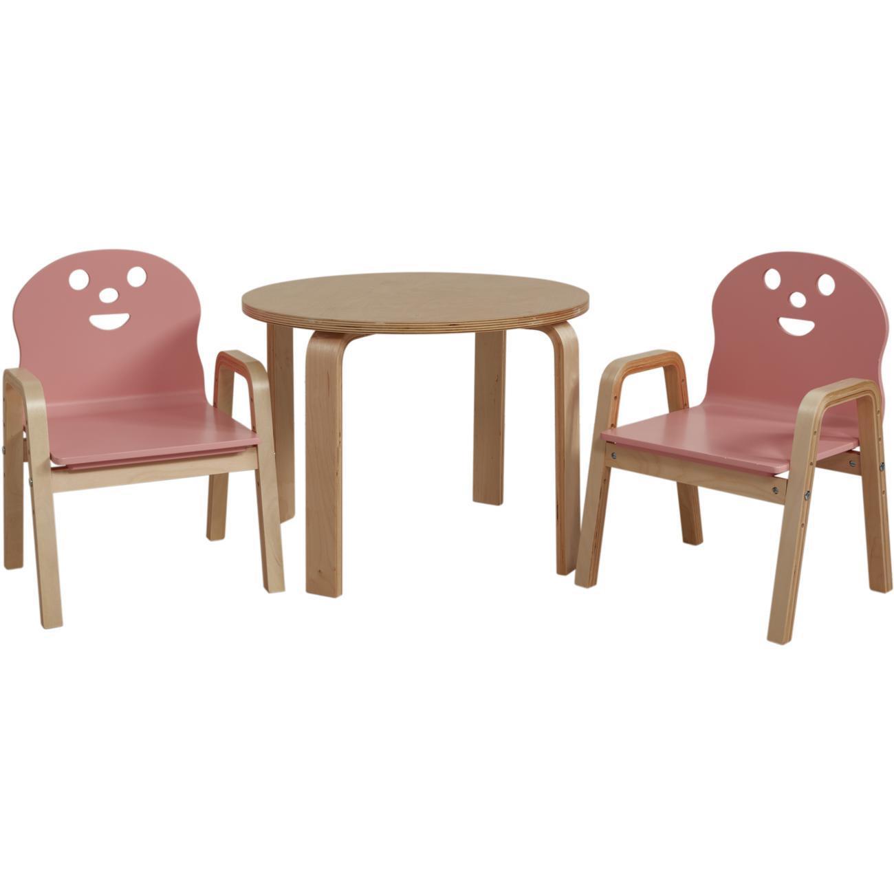 Set De Deux Chaises Une Table Enfant Bois Lodi Rose Bobochic