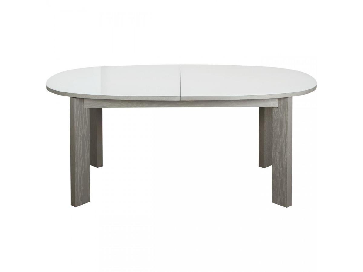Table de repas elegante Devlin Gris et Verre Blanc