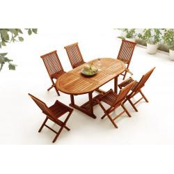 Table Ovale 6 chaises TECK Huilé