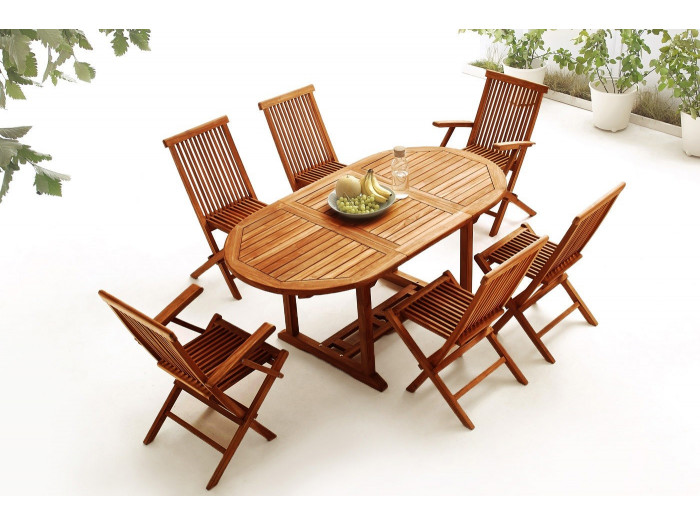 Oval Table 4 chairs + 2 armchairs TEAK Oiled