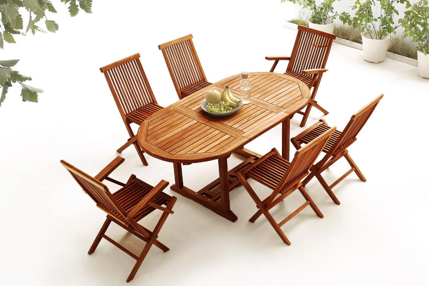 Table Ovale 4 chaises + 2 fauteuils TECK Huilé
