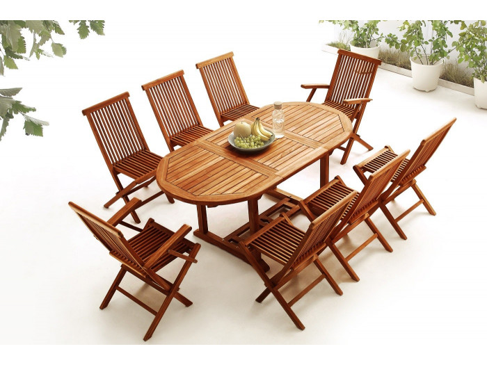 Oval Table 6 chairs + 2 armchairs TEAK Oiled