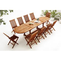 Table Ovale 10 chaises TECK Huilé