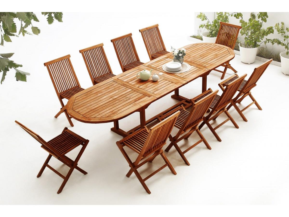 ovaler tisch mit 10 st hlen teak ge lt bobochic paris. Black Bedroom Furniture Sets. Home Design Ideas