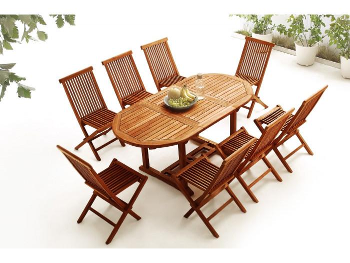 Table Ovale 8 chaises TECK Huilé