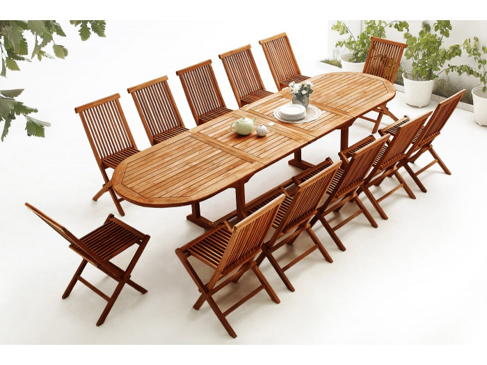 Oval Table 12 chairs TEAK Oiled