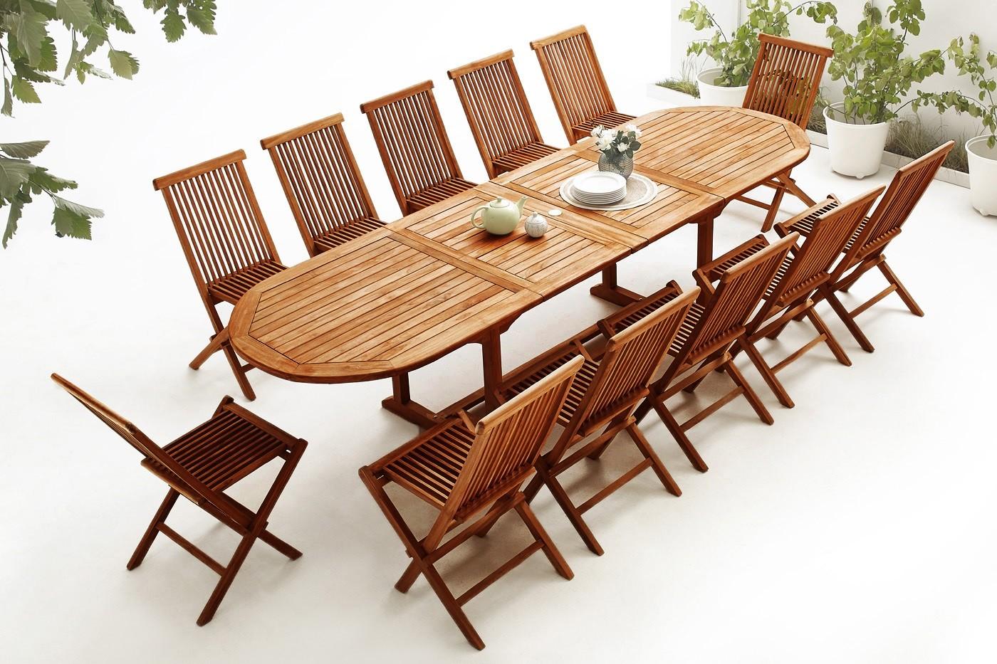 ovaler tisch mit 12 st hlen teak ge lt bobochic. Black Bedroom Furniture Sets. Home Design Ideas