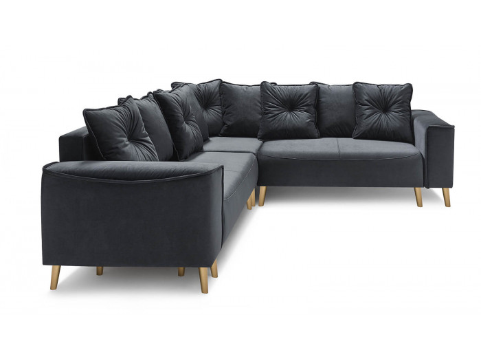 Canapé grand angle convertible pieds gold HERA