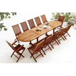 Table Ovale 10 chaises + 2 fauteuils TECK Huilé