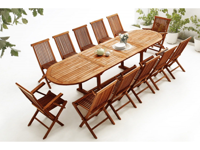 Oval Table 10 chairs + 2 armchairs TEAK Oiled