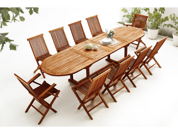 Oval Table 8 chairs + 2 armchairs TEAK Oiled