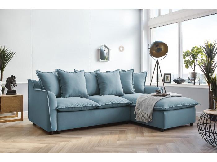 Canapé d'angle convertible coffre Mona