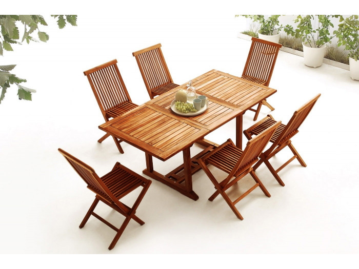 Table rectangle 6 chairs TEAK oiled