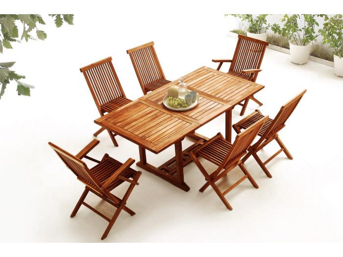 Table rectangle 4 chaises + 2 fauteuils TECK huilé