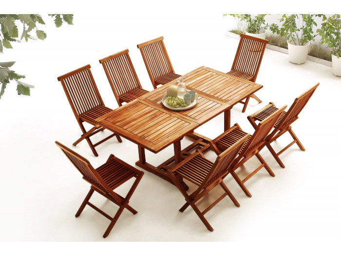 Table rectangle 8 chairs TEAK Oiled