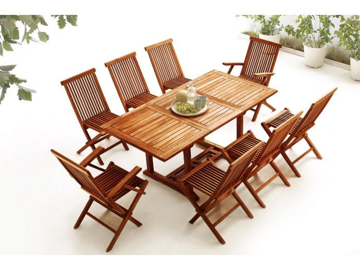 Table rectangle 6 chaises + 2 fauteuils TECK Huilé