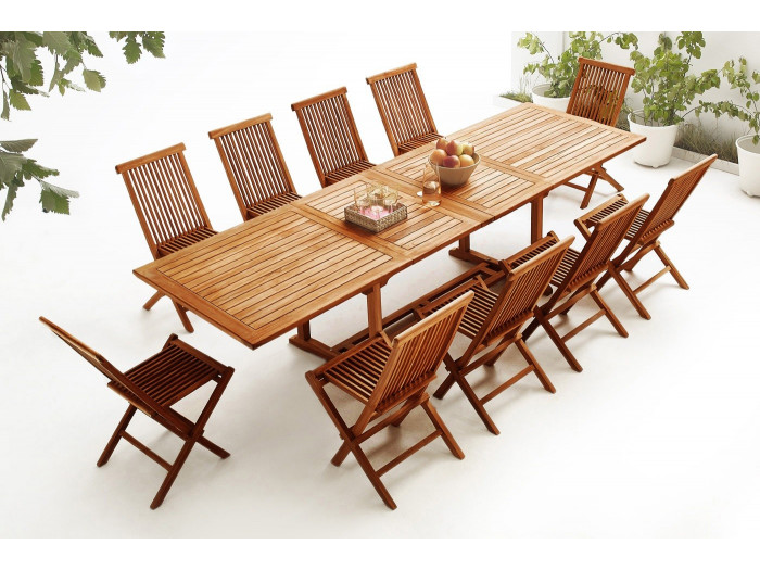 Table rectangle 10 chairs TEAK Oiled