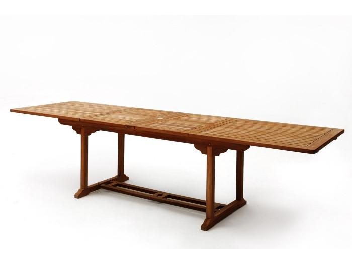 Table rectangle 8 chaises + 2 fauteuils TECK Huilé