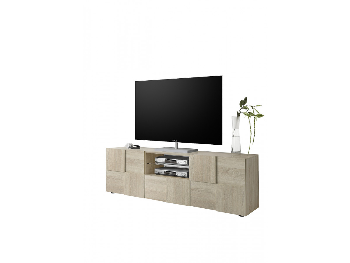 Meuble TV 2 portes 1 tiroir Corzano Chene samoa