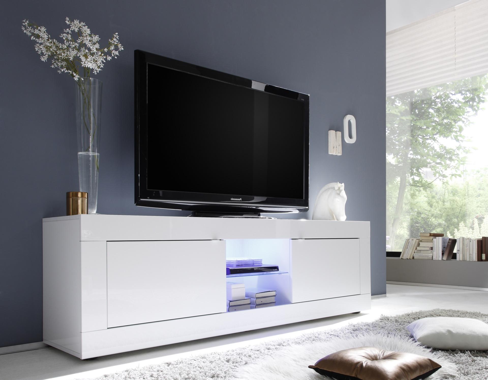 Meuble Blanc Laqué Brillant meuble tv grande 2 portes favara blanc laqué brillant blanc laqué brillant
