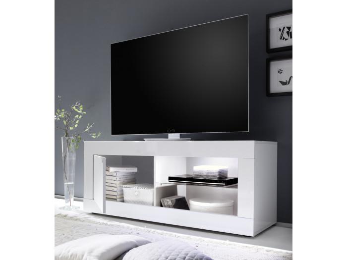 Meuble Blanc Laqué Brillant meuble tv petit 1 porte favara blanc laqué brillant blanc laqué brillant
