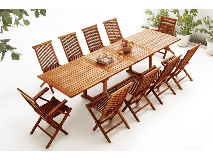 Table rectangle 10 chaises + 2 fauteuils TECK Huilé