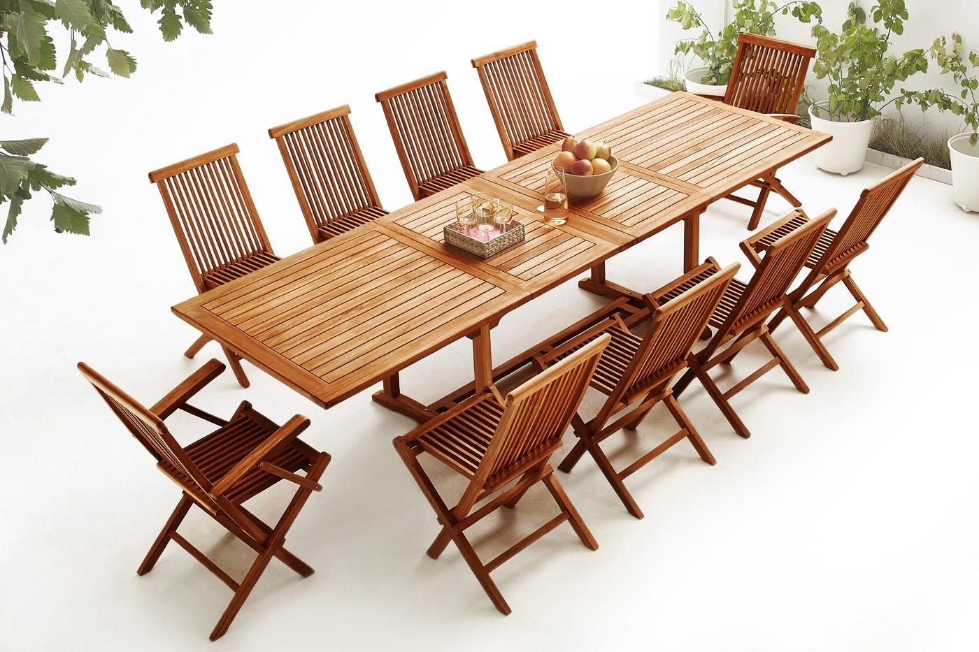 table rectangle 10 chaises 2 fauteuils teck huil bobochic paris. Black Bedroom Furniture Sets. Home Design Ideas