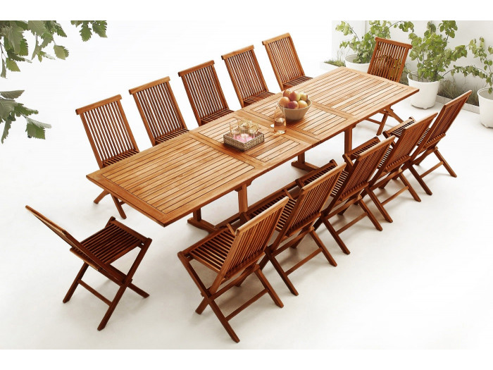 Table rectangle 12 chairs TEAK Oiled