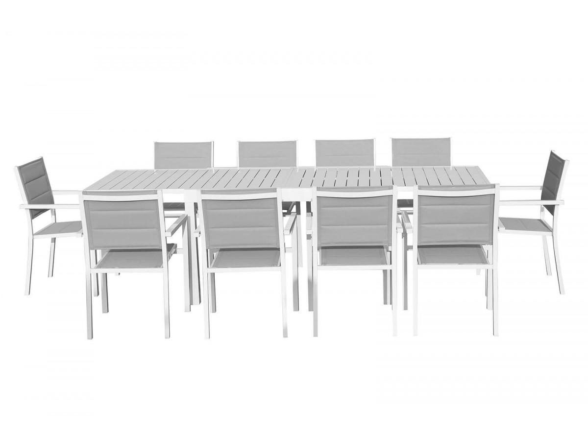 Ensemble table + chaises 10 places anthracite Cloé