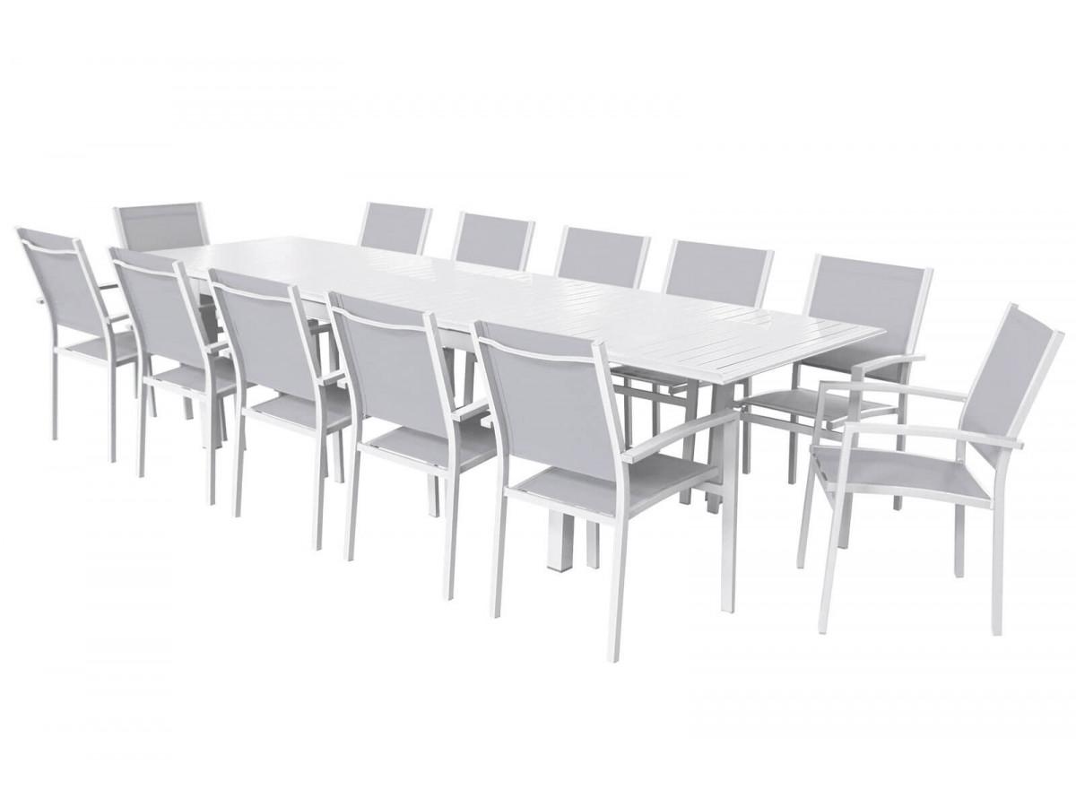 Ensemble table extensible + 12 fauteuils blanc/gris clair Cloé