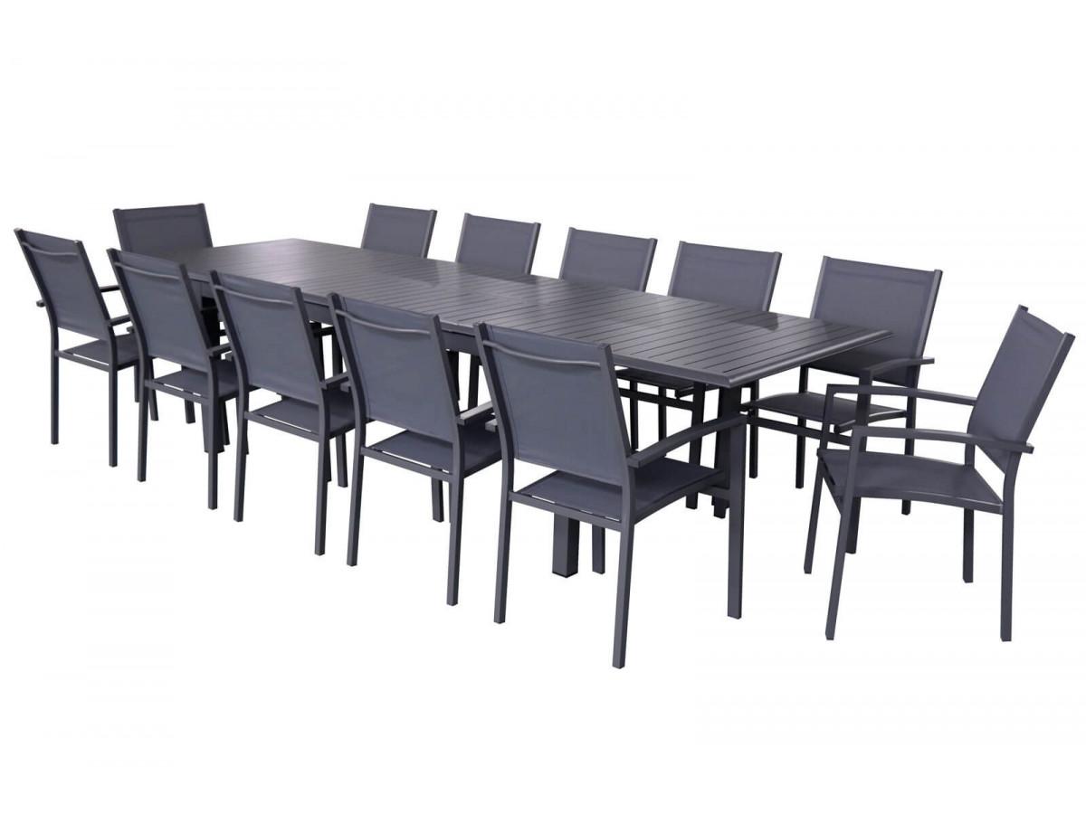 Ensemble table extensible + 12 fauteuils anthracite Panao