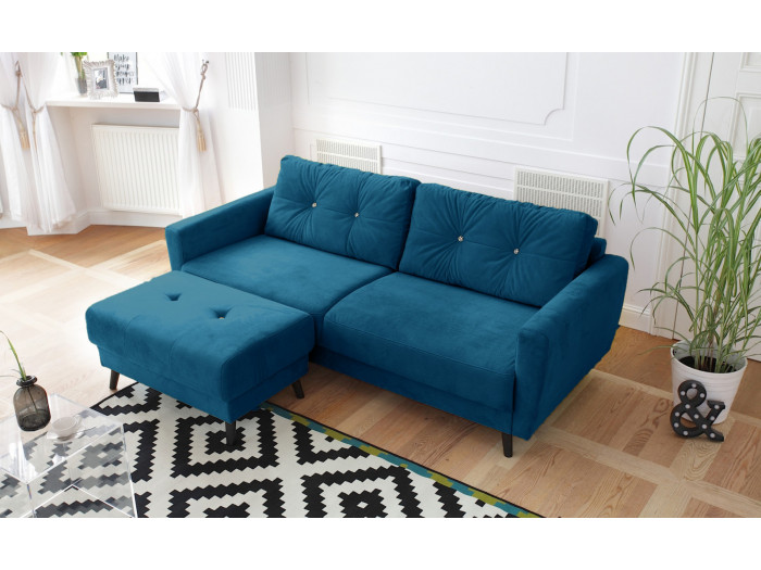 Sofa fixed fee, limited-edition velvet-with ottoman SCANDI