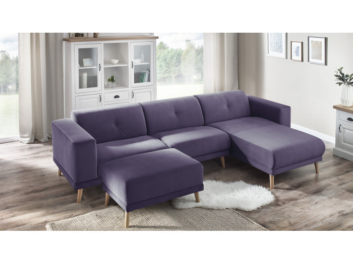 Canapé d'angle LUNA avec pouf