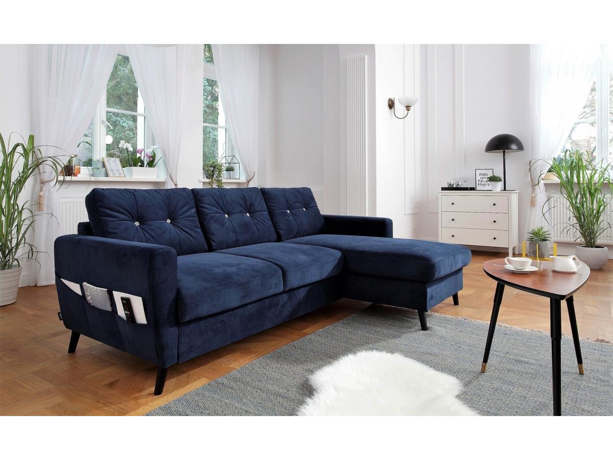 canap d 39 angle convertible coffre edition limit e velours scandi bobochic. Black Bedroom Furniture Sets. Home Design Ideas