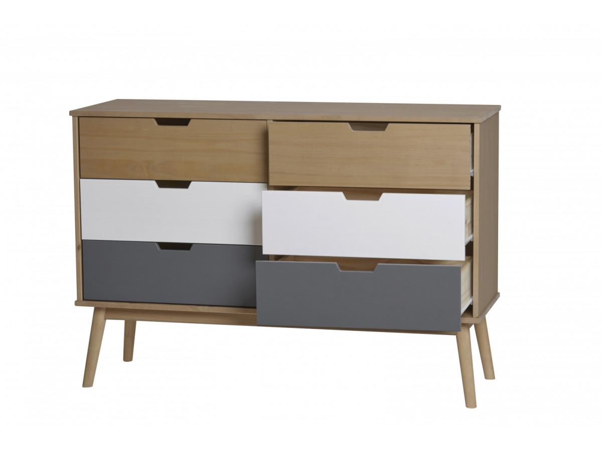 commode scandinave 6 tiroirs anael bois massif. Black Bedroom Furniture Sets. Home Design Ideas